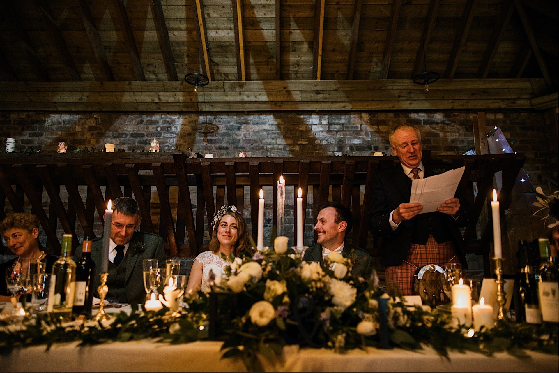 speech bride of smiling dads during view table at top the Rhynd