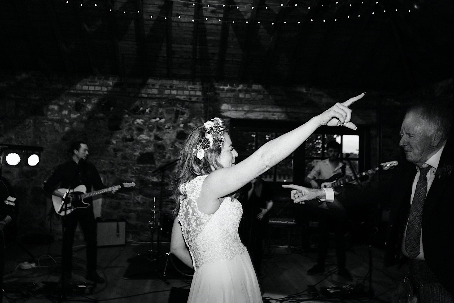 arm bride dancing in thrusting air