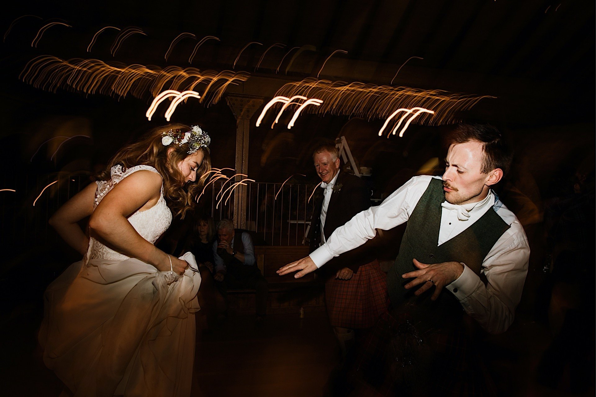 bride and groom dancing after the wedding ceremony and reception at the Rhynd, barn wedding venue in leuchars