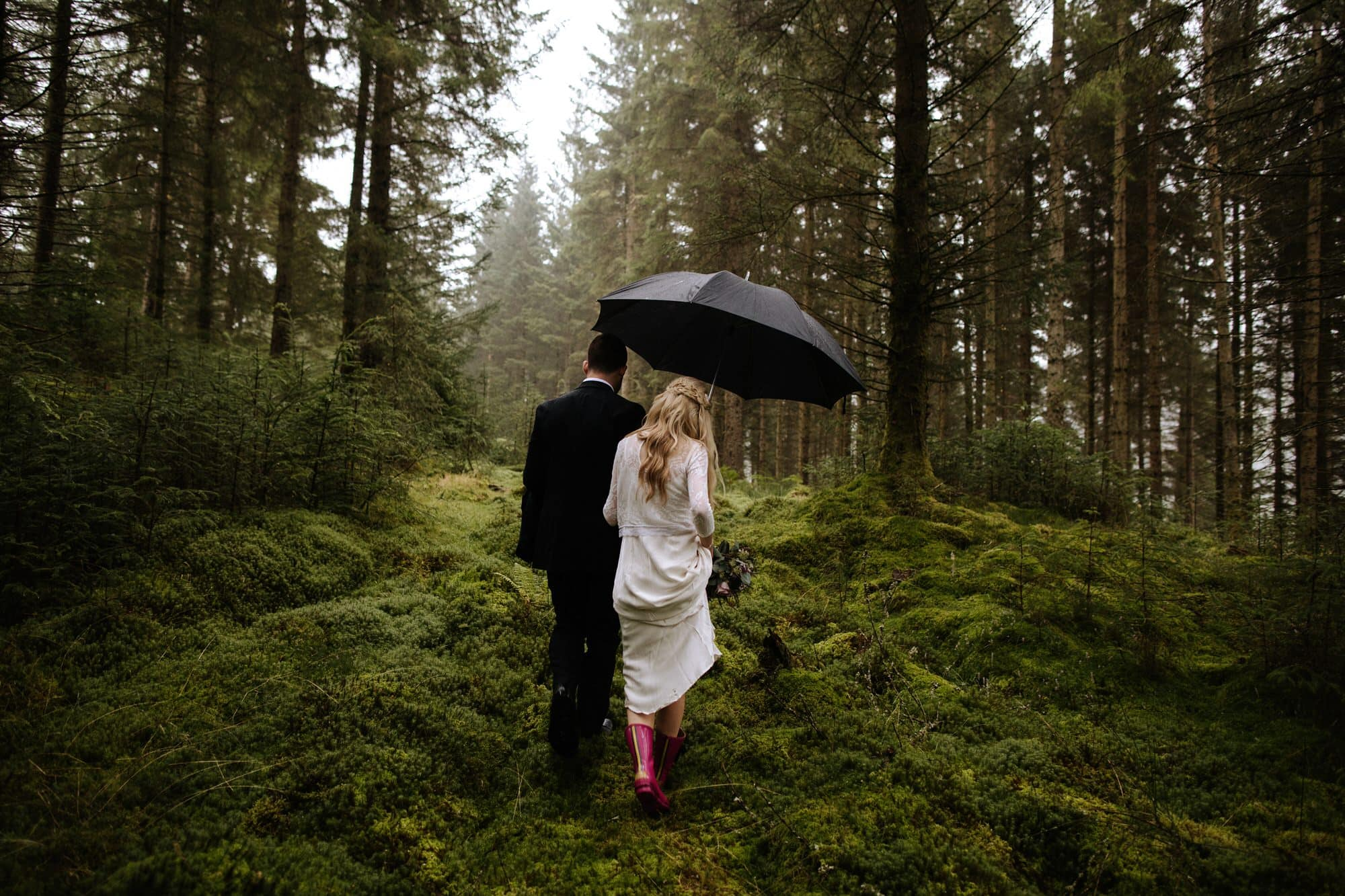LOCH DRUNKIE TROSSACHS STIRLING ELOPEMENT BRIDE IN PINK WELLIES FOREST ZOE ALEXANDRA PHOTOGRAPHY