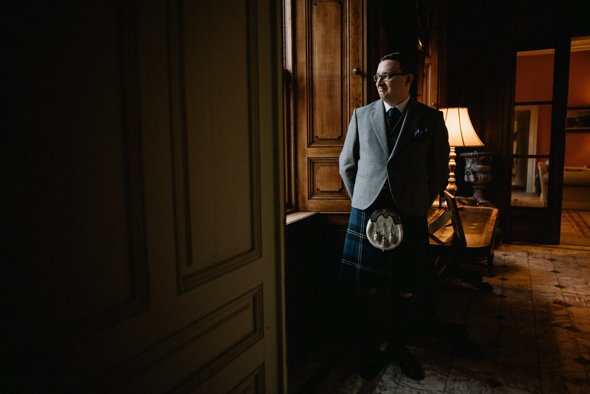groom waiting for his bride at craigengillan mansion house