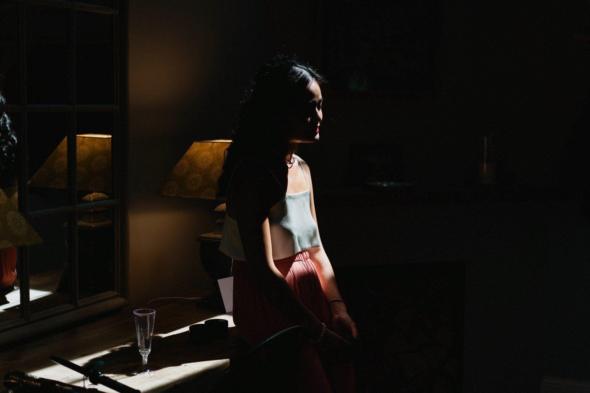 bridesmaid in light