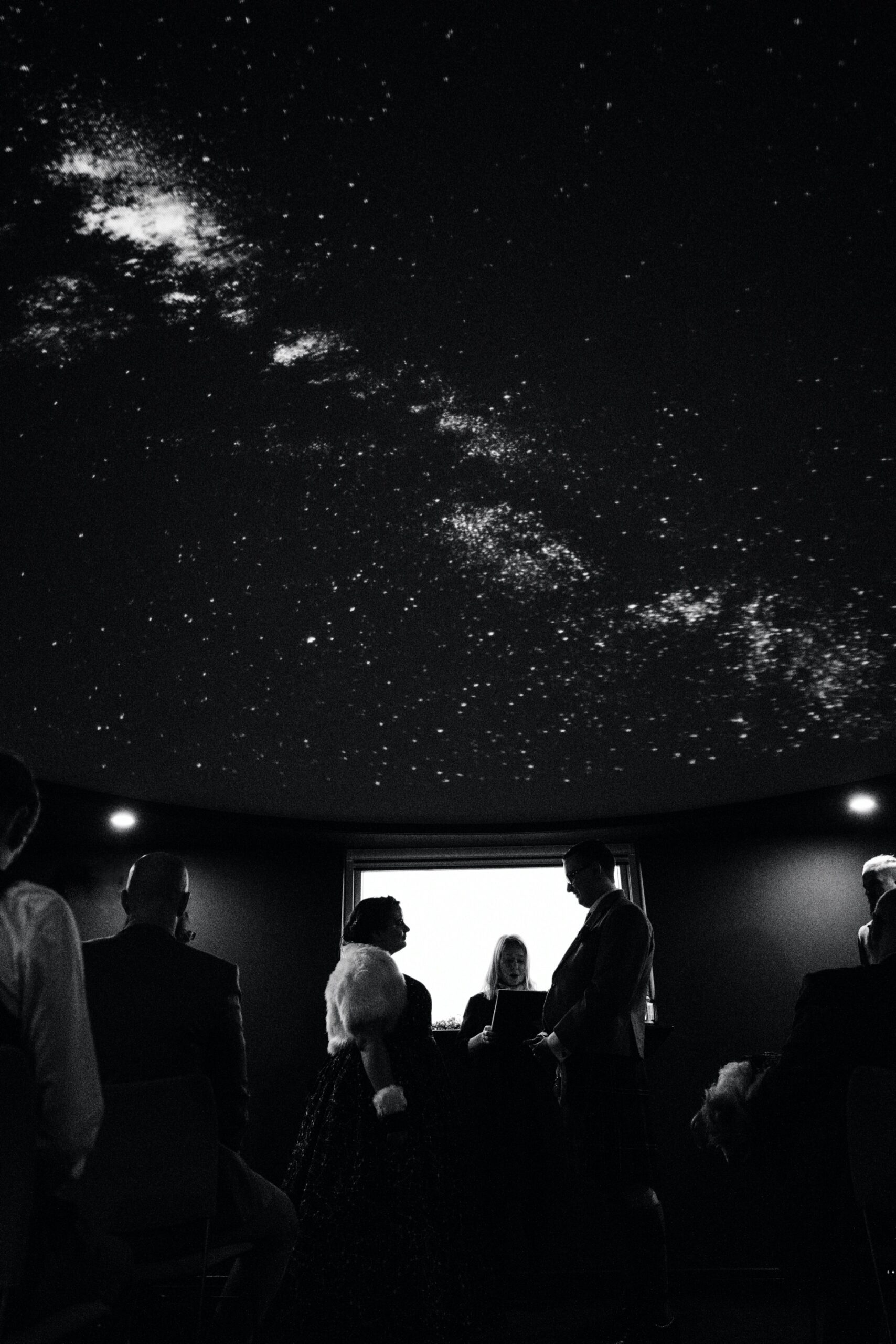 celestial wedding ceremony in the planetarium at the scottish dark sky observatory