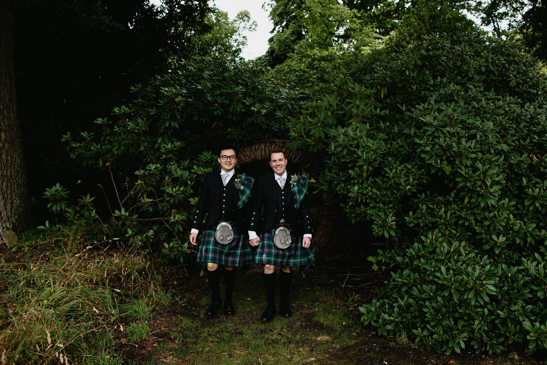 same sex grooms scotland kilt wedding couple