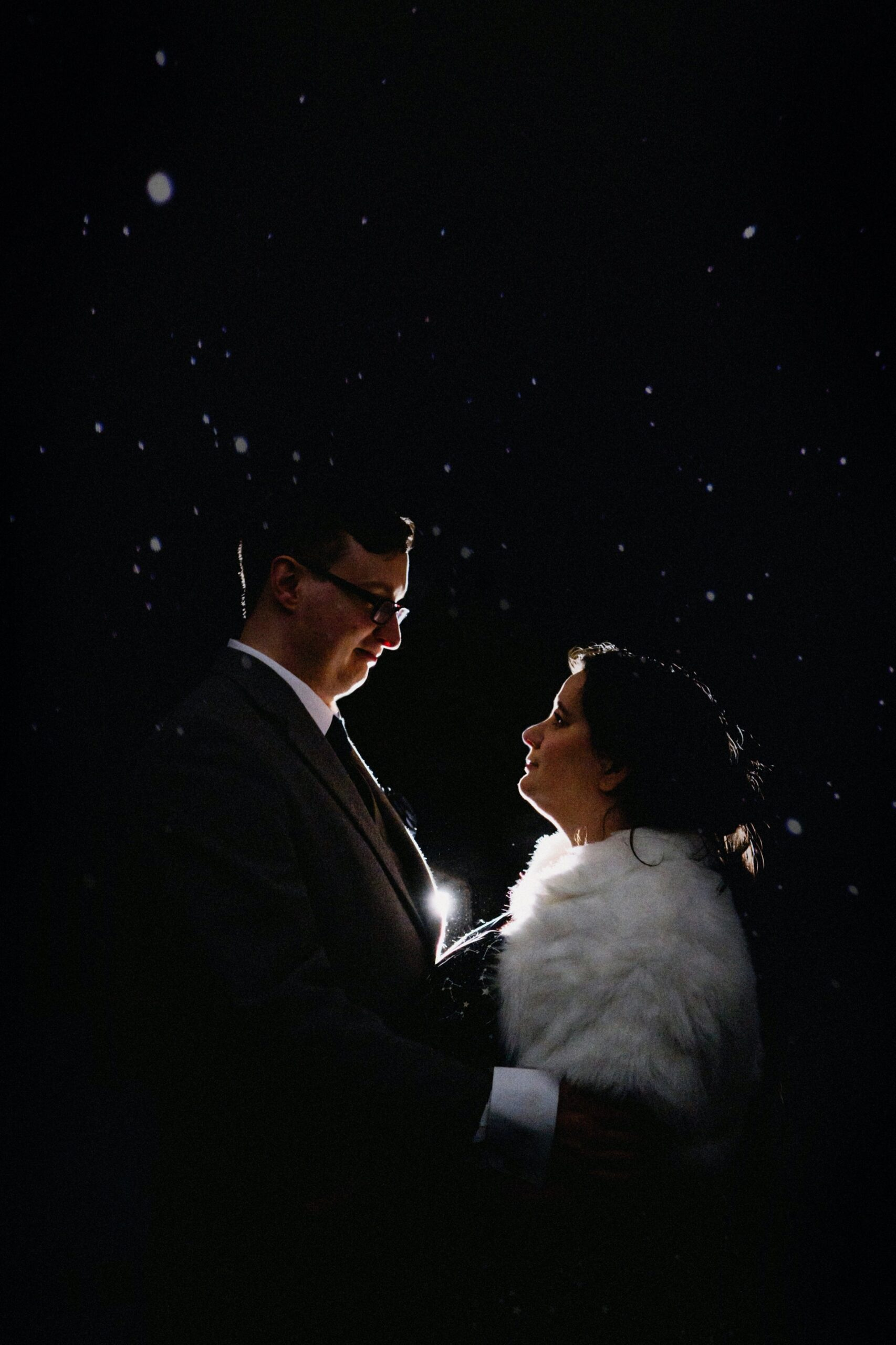 Celestial wedding portraits bride and groom with the stars