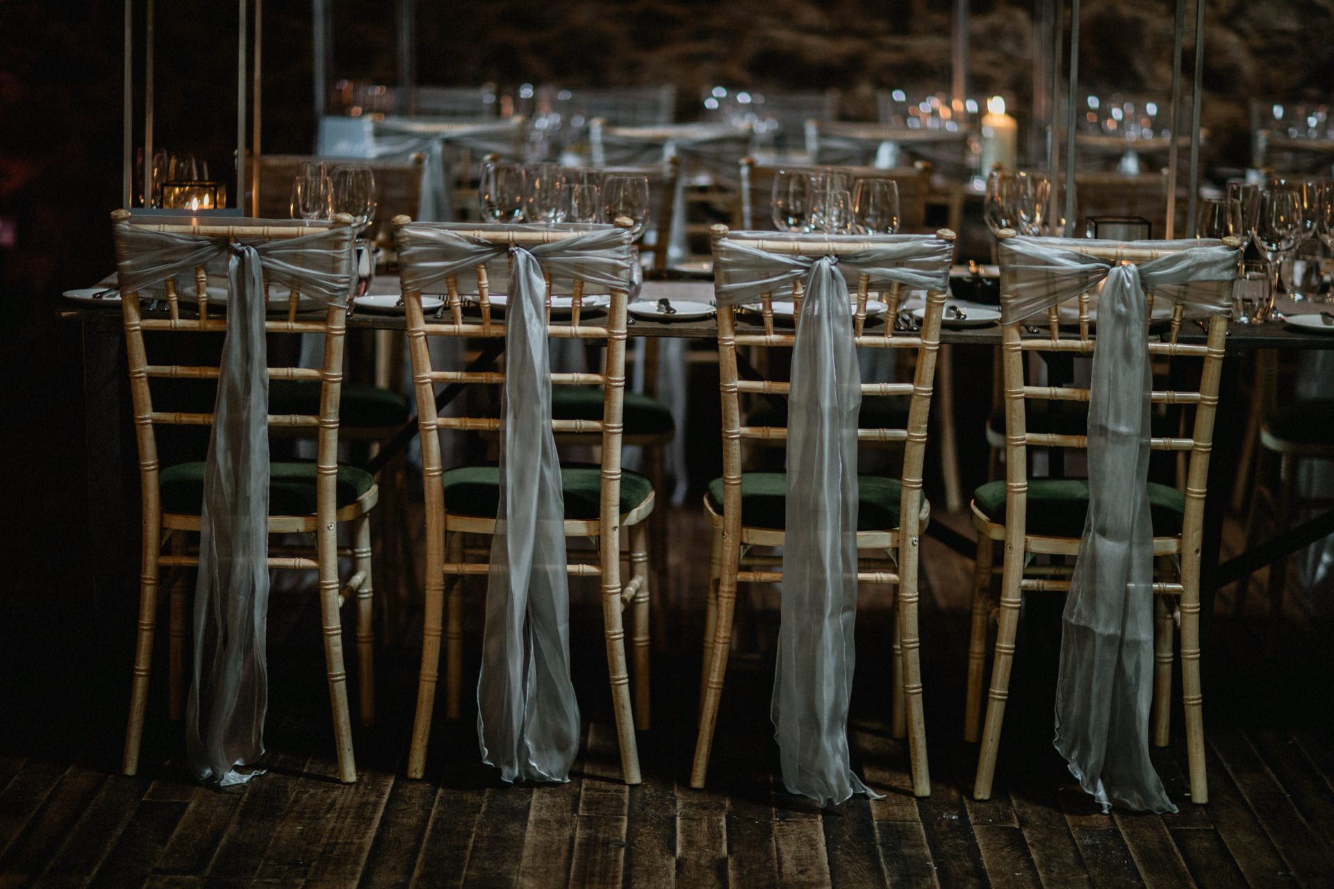 chairs dressed silver ribbon