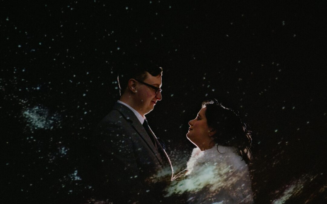 Celestial wedding space themed elopement dark sky observatory