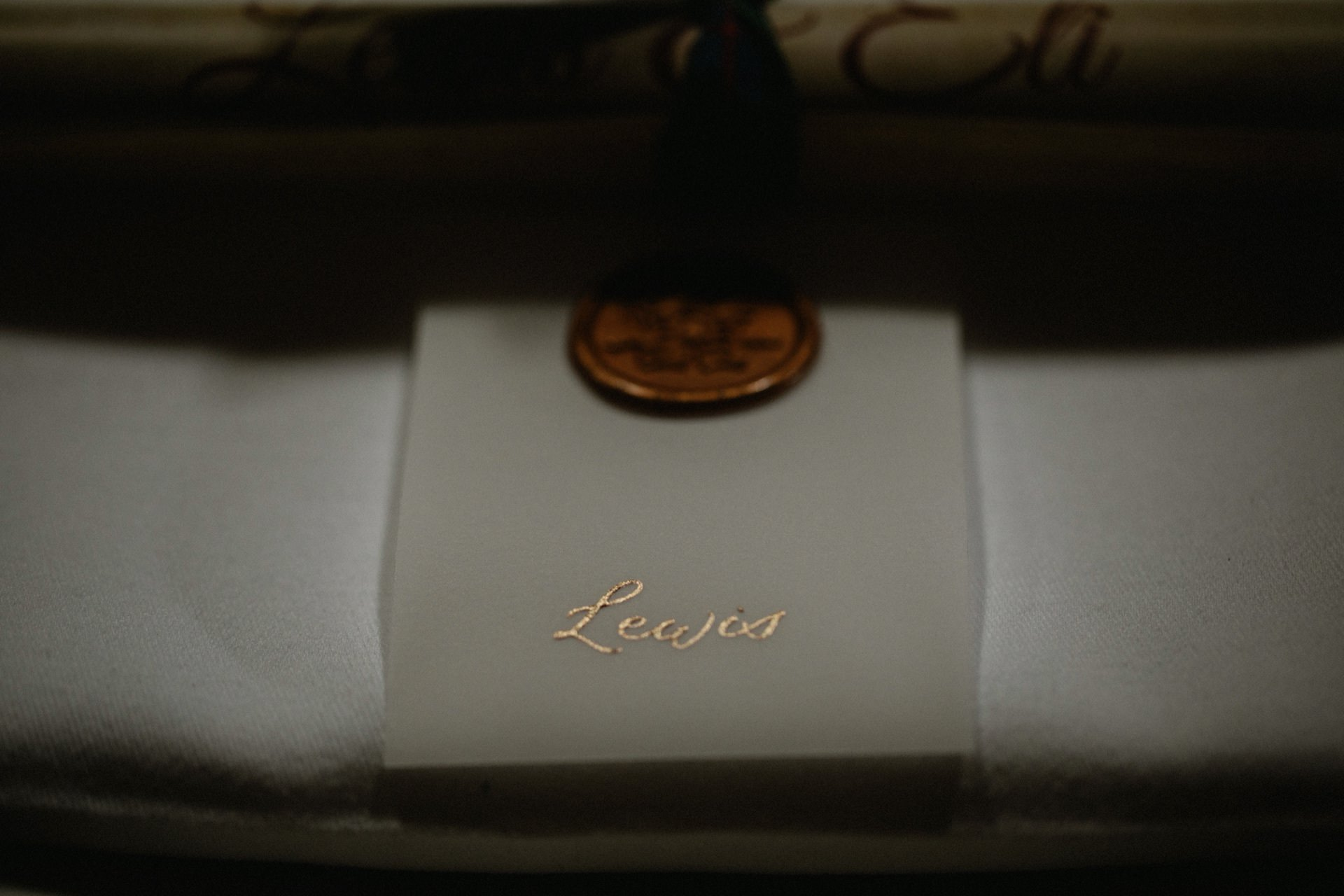 place setting gold lettering