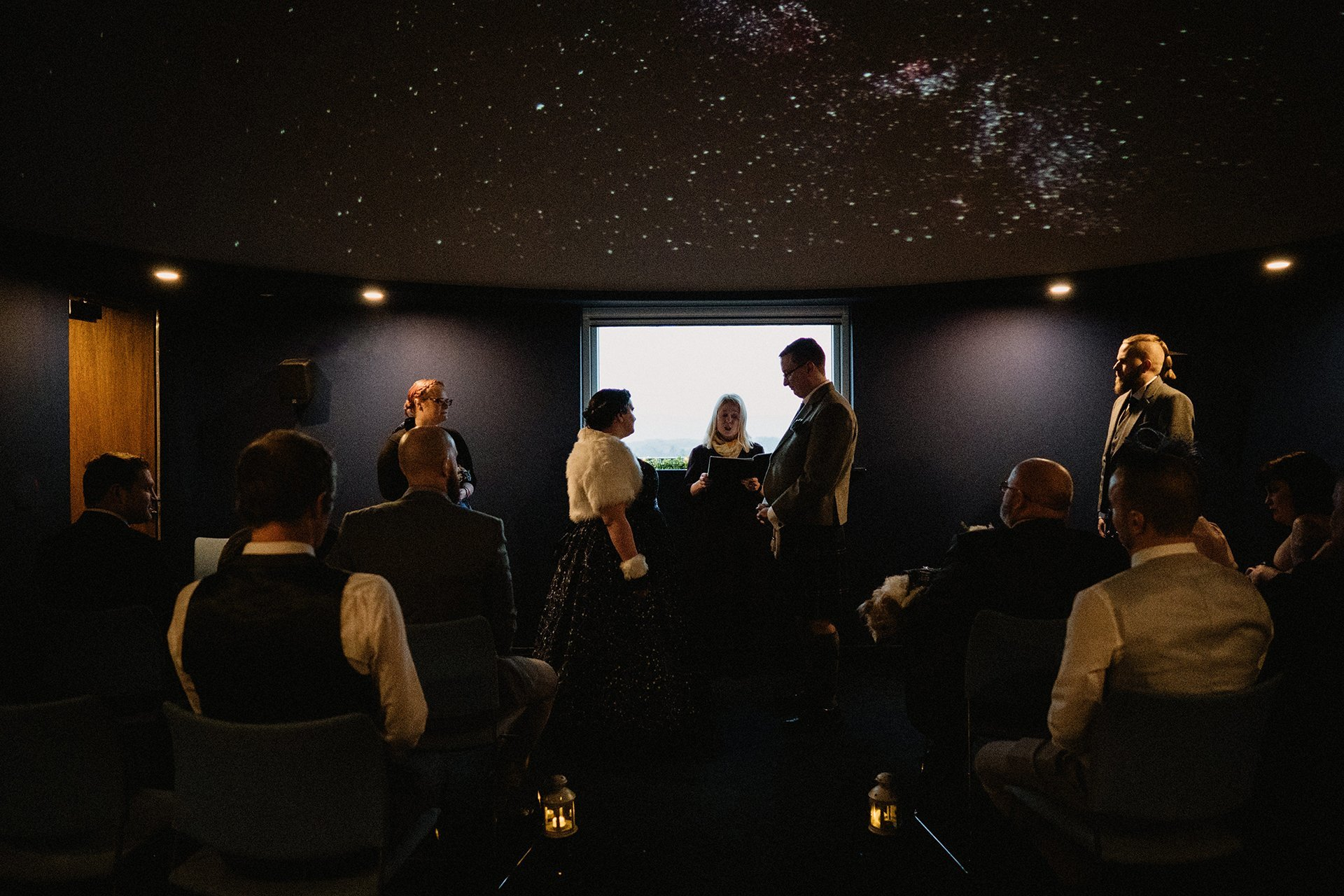 celestial wedding ceremony, humanist planetarium ceremony at the scottish dark sky observatory