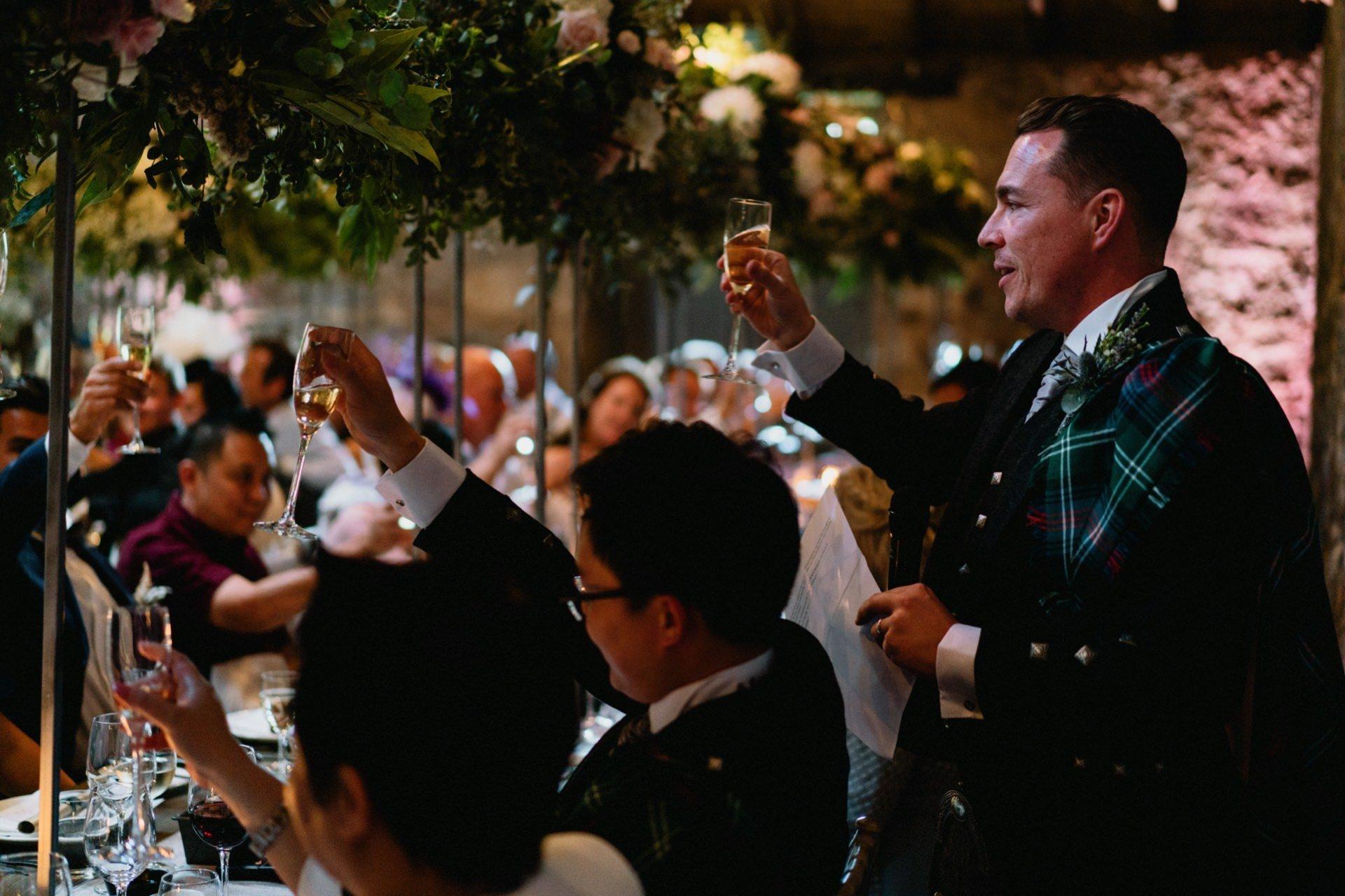 groom cheers