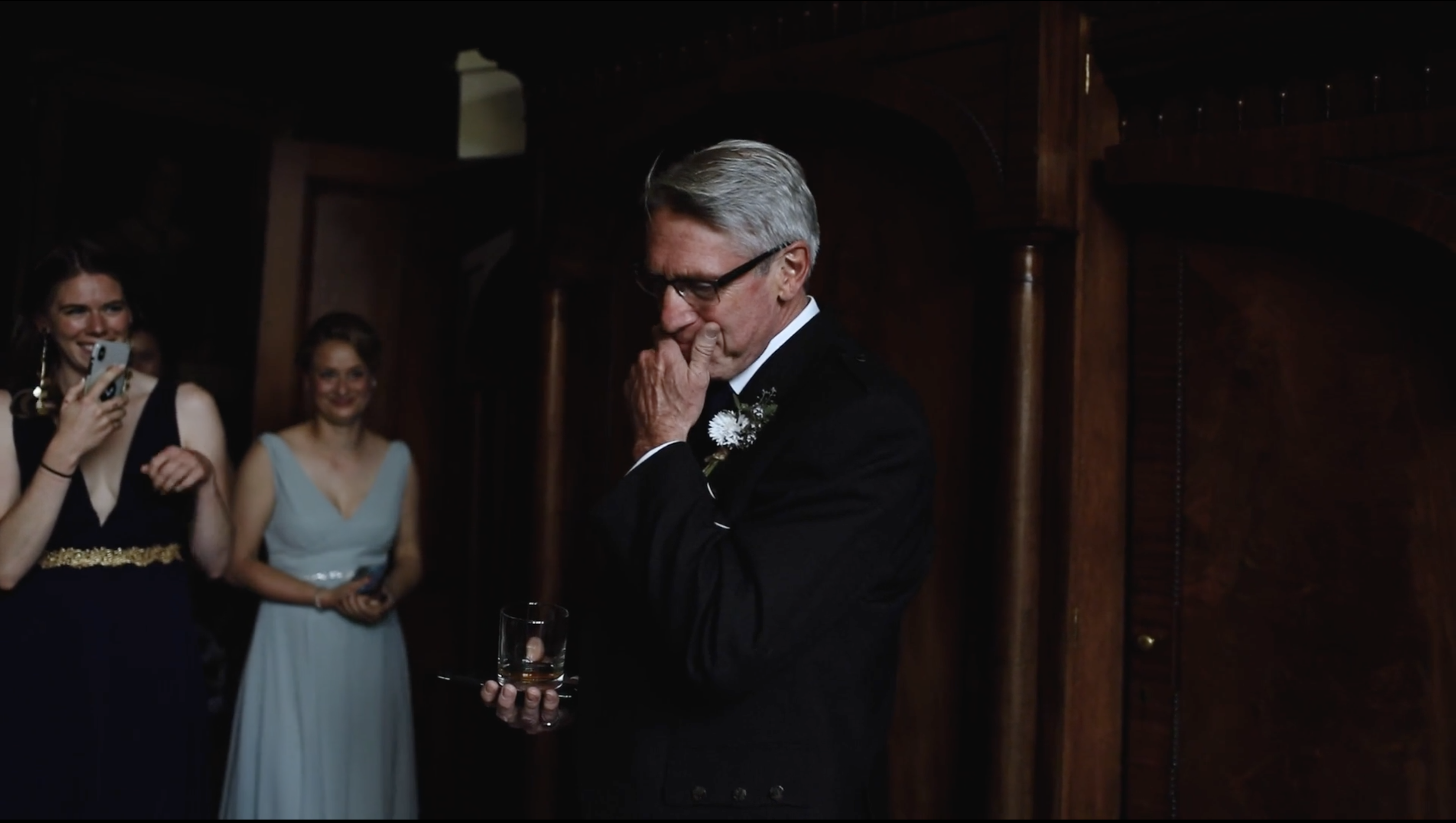 Dad reacts to seeing bride in her wedding dress for the first time. Relaxed wedding video Cambo House.