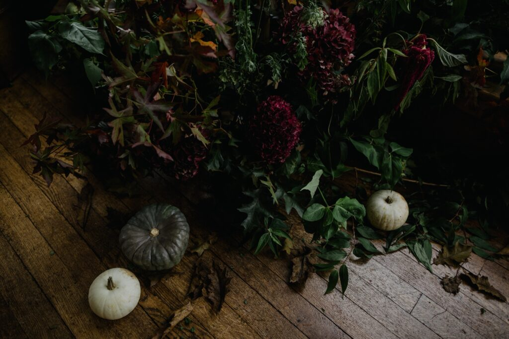 autumn leaves and squash wedding flowers