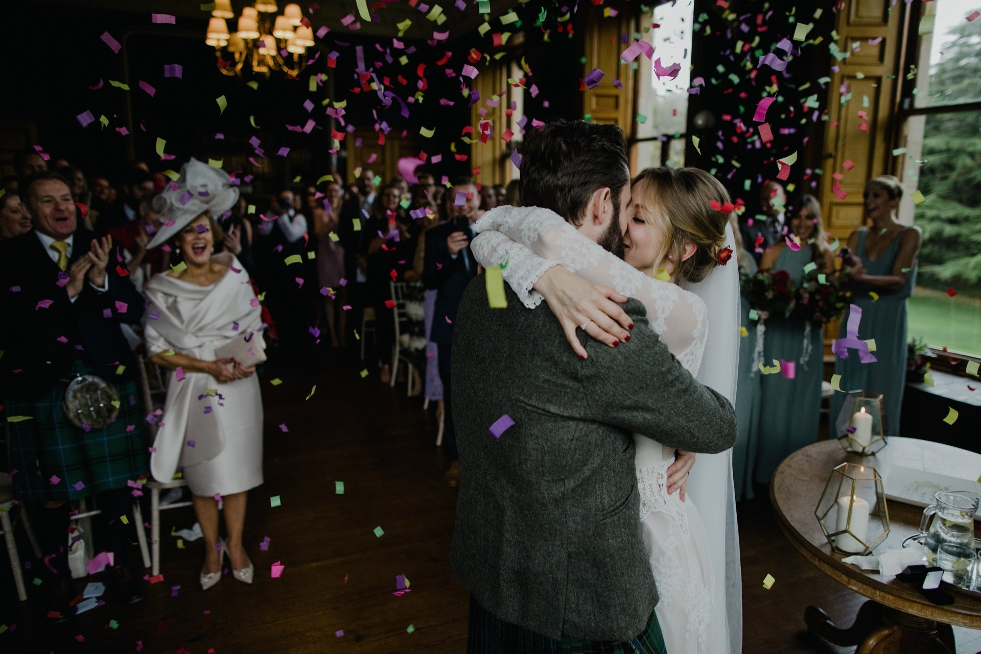 confetti canon moment after their vows wedding at cambo estate scotland